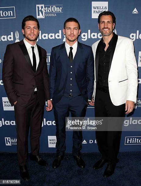 Actors Brent Antonello and Adam Sennand and producer James LaRosa attend the 27th Annual GLAAD Media Awards at the Beverly Hilton Hotel on April 2...