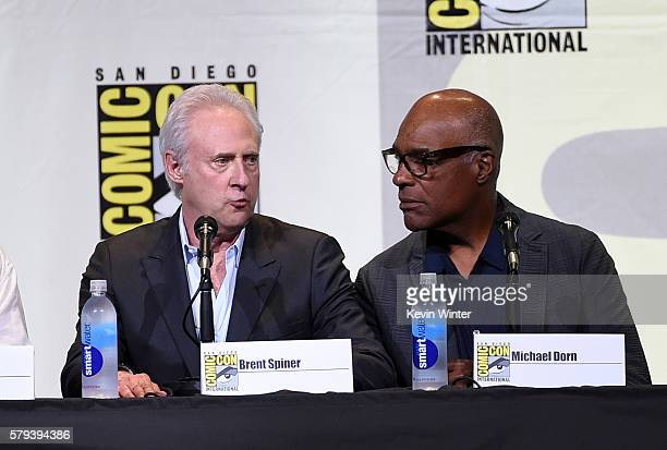 Actors Brent Spiner and Michael Dorn attend the 'Star Trek' panel during ComicCon International 2016 at San Diego Convention Center on July 23 2016...