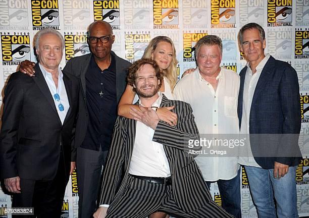 Actors Brent Spiner and Michael Dorn writer/producer Bryan Fuller actors Jeri Ryan William Shatner and Scott Bakula attend the 'Star Trek' panel...