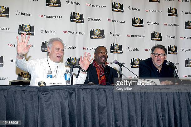 Actors Brent Spiner LeVar Burton and Jonathan Frakes speak during a QA for the 25th anniversary of Star Trek The Next Generation during the Wizard...