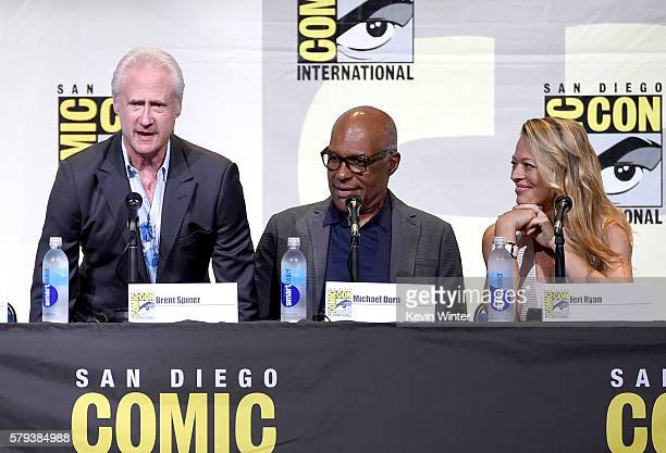 Actors Brent Spiner Michael Dorn and Jeri Ryan attend the 'Star Trek' panel during ComicCon International 2016 at San Diego Convention Center on July...