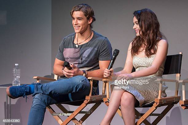 Actors Brenton Thwaites and Odeya Rush attend Meet The Filmmakers at Apple Store Soho on August 12 2014 in New York City
