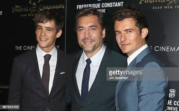 Actors Brenton Thwaites Javier Bardem and Orlando Bloom attend the screening of 'Pirates Of The Caribbean Dead Men Tell No Tales' hosted by The...