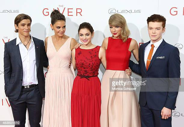 Actors Brenton Thwaites Katie Holmes Odeya Rush Taylor Swift and Cameron Monaghan attend The Giver premiere at Ziegfeld Theater on August 11 2014 in...