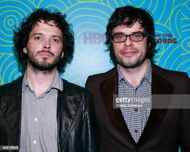 Actors Bret McKenzie and Jemaine Clement attend the Flight of the Conchords season 2 viewing party at the Angel and Orensanz Foundation on January 26...