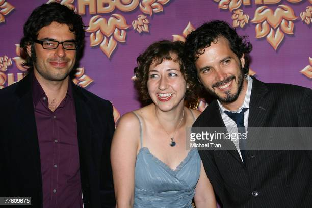 Actors Bret McKenzie Kristen Schaal and Jemaine Clementattends HBO after party for the 59th Primetime Emmy Awards at The Pacific Design Center on...