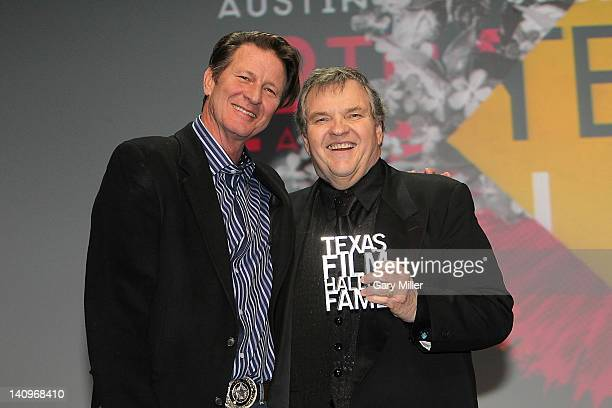 Actors Brett Cullen and singer/actor Meat Loaf on stage during the Texas Film Hall of Fame Awards show at ACL Live on March 8 2012 in Austin Texas