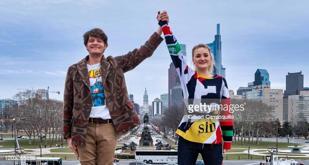 Actors Brett Dier and AJ Michalka of the ABCTV comedy show Schooled are seen running up The Rocky Steps at The Philadelphia Museum of Art on January...