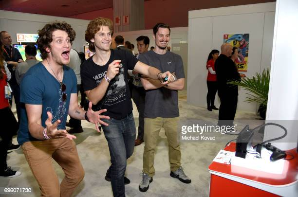 Actors Brett Dier Keegan Allen and Jordan Blake Knight visit the Nintendo booth at the 2017 E3 Gaming Convention at Los Angeles Convention Center on...