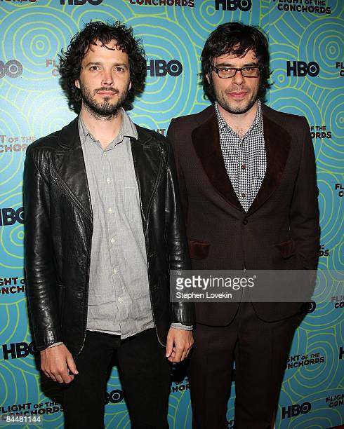 Actors Brett McKenzie and Jemaine Clement attend the Flight of the Conchords season 2 viewing party at the Angel and Orensanz Foundation on January...