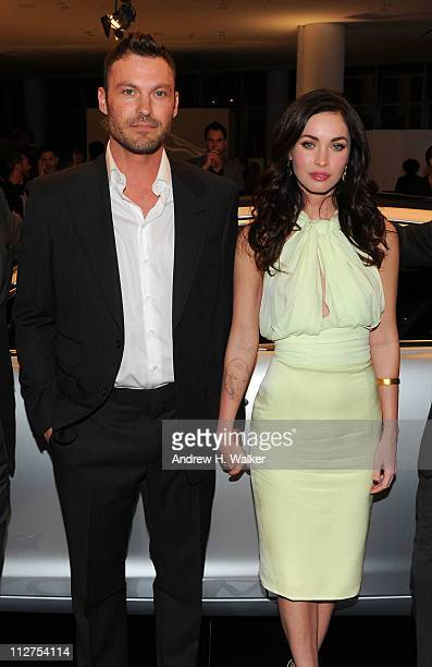 Actors Brian Austin Green and Megan Fox attend the celebration of Jaguar Design and the 50th Anniversary of the Jaguar E-Type at The IAC Building on...