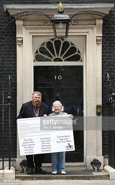 Actors Brian Blessed and Annette Crosbie attend a photocall organised by the National AntiVivisection Society on 'World Day for Laboratory Animals'...