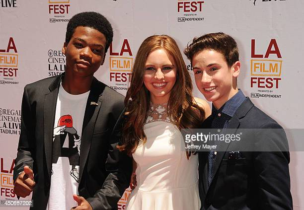 Actors Brian Bradley Ella Wahlestedt and Teo Halm attend the premiere of 'Earth to Echo' during the 2014 Los Angeles Film Festival at Regal Cinemas...