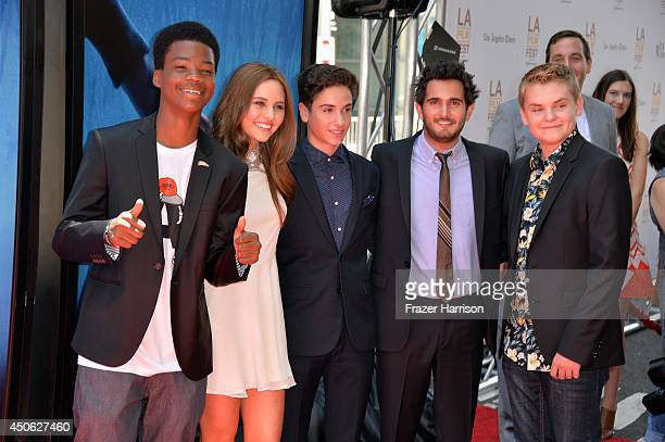 Actors Brian Bradley Ella Wahlestedt and Teo Halm director Dave Green and actor Reese Hartwig attend the premiere of Earth to Echo during the 2014...