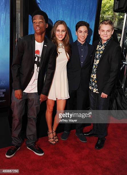 Actors Brian Bradley Ella Wahlestedt Teo Halm and Reese Hartwig attend the premiere of 'Earth to Echo' during the 2014 Los Angeles Film Festival at...