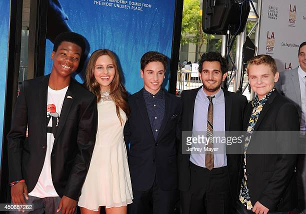 Actors Brian Bradley Ella Wahlestedt Teo Halm director Dave Green and actor Reese Hartwig attend the premiere of 'Earth to Echo' during the 2014 Los...
