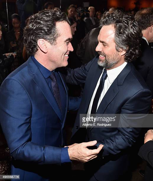 "Actors Brian d'Arcy James and Mark Ruffalo attend a special screening of Open Road Films' ""Spotlight"" at The DGA Theater on November 3, 2015 in Los..."