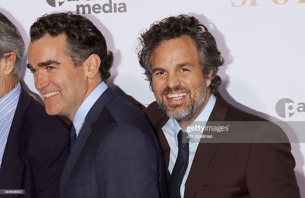 Actors Brian d'Arcy James and Mark Ruffalo attend the 'Spotlight' New York premiere at Ziegfeld Theater on October 27, 2015 in New York City.