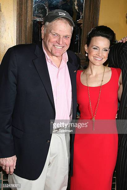 "Actors Brian Dennehy and Carla Gugino attend the opening night party for ""Desire Under The Elms"" on Broadway at the Redeye Grill on April 27, 2009 in..."