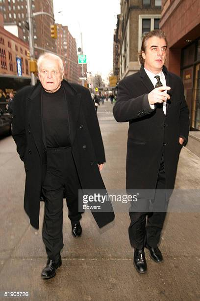 Actors Brian Dennehy and Chris Noth attend the funeral for Jerry Orbach at Riverside Chapel December 31 2004 in New York City