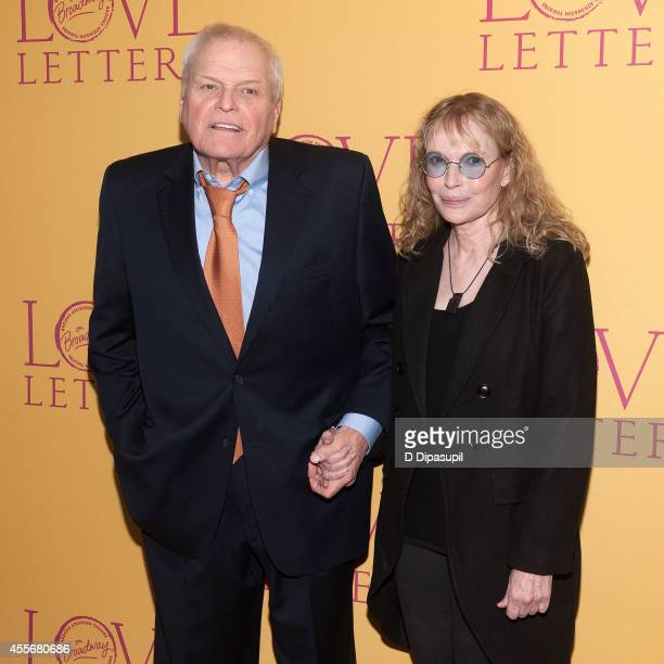 Actors Brian Dennehy and Mia Farrow attend Love Letters Broadway Opening Night after party at Brasserie 8 1/2 on September 18 2014 in New York City