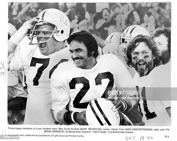 "Actors Brian Dennehy, Burt Reynolds and Kris Kristofferson on set for the United Artists movie "" Semi-Tough"" in 1977."