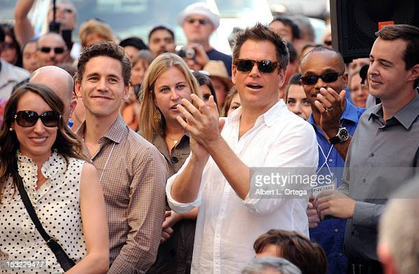 Actors Brian Dietzen Michael Weatherly Sean Murray and Rocky Carroll participate in the Mark Harmon Star Ceremony on The Hollywood Walk Of Fame on...