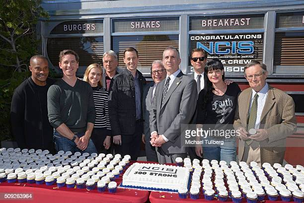 Actors Brian Dietzen Rocky Carroll Mark Harmon Emily Wickersham and Sean Murray executive producer Gary Glasberg NCIS Director Andrew Traver and...