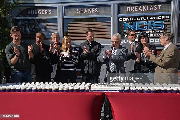 Actors Brian Dietzen Rocky Carroll Mark Harmon Emily Wickersham and Sean Murray executive producer Gary Glasberg and actors Michael Weatherly Pauley...