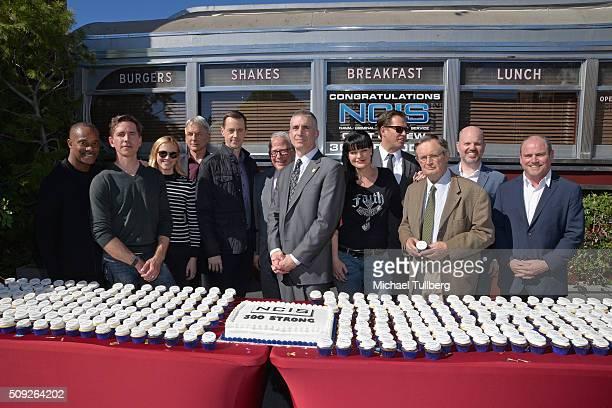 Actors Brian Dietzen Rocky Carroll Mark Harmon Emily Wickersham and Sean Murray executive producer Gary Glasberg NCIS Director Andrew Traver and...