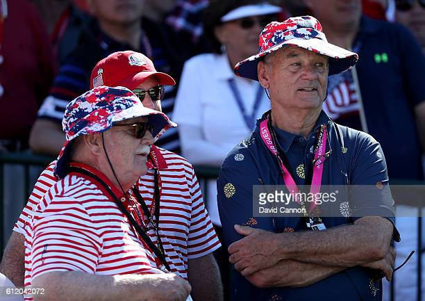 Actors Brian Doyle Murray and Bill Murray attend singles matches of the 2016 Ryder Cup at Hazeltine National Golf Club on October 2 2016 in Chaska...