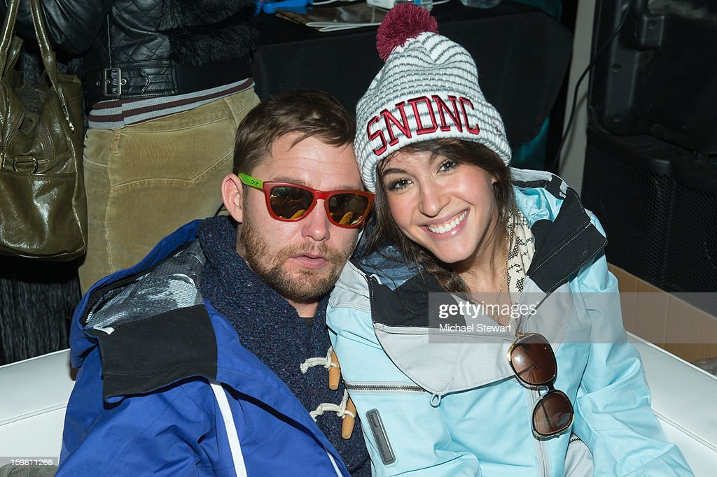 Actors Brian Geraghty (L) and Kate Voegele attend Paige Hospitality Game Watch at Sky Bar on January 20, 2013 in Park City, Utah.