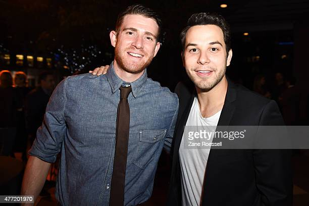 Actors Brian Greenberg and Skylar Astin attend the Flock of Dudes after party during the 2015 Los Angeles Film Festival at Target Terrace Lounge on...