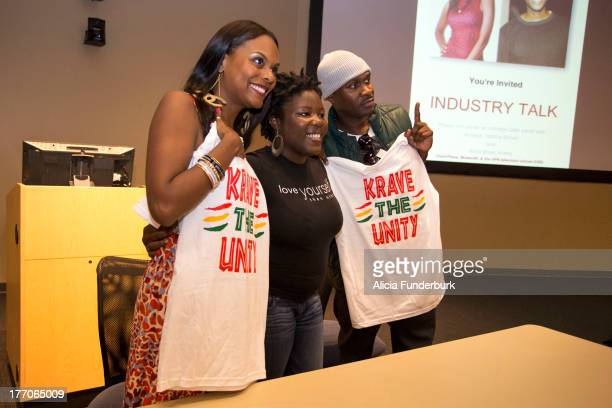 Actors Brian Hooks and Tabitha Brown attend the Laughing To The Bank movie promo visit at North Carolina Agricultural Technical State University on...
