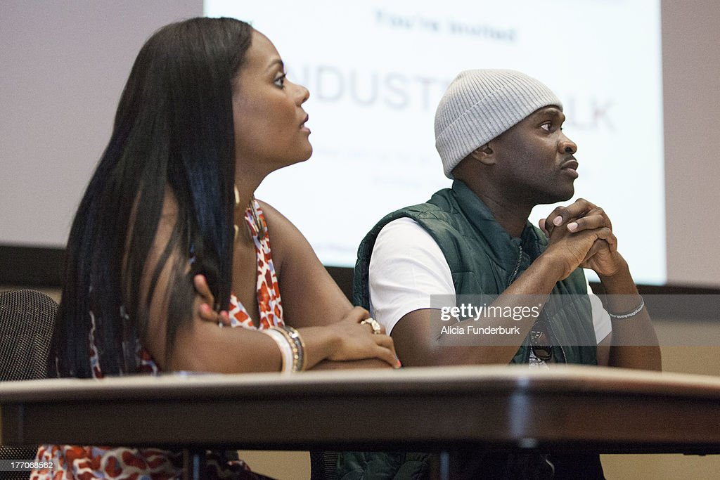 Actors Brian Hooks and Tabitha Brown attend the 'Laughing To The Bank' movie promo visit at North Carolina Agricultural & Technical State University on August 20, 2013 in Greensboro, North Carolina.
