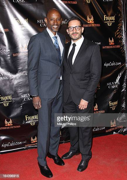 Actors Brian Keith Gamble and Alejandro Cardenas attend 'Silver Case' Los Angeles theatrical release at Arena Cinema Hollywood on March 22 2013 in...
