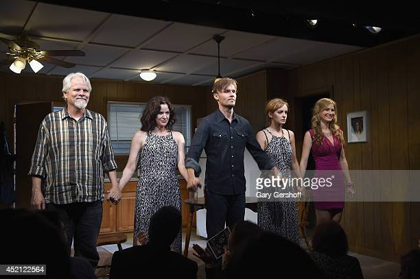 Actors Brian Lally Ally Sheedy Scott Haze Ahna O'Reilly and Allie Gallerani take a bow at the curtain call of The Long Shrift opening night at...