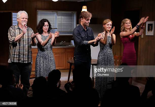 Actors Brian Lally Ally Sheedy Scott Haze Ahna O'Reilly and Allie Gallerani take a bow during curtain call for The Long Shrift opening night at...