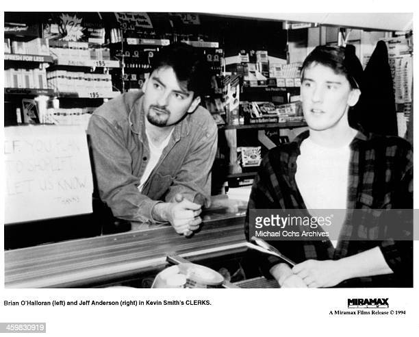 Actors Brian O'Halloran and Jeff Anderson on set of the Miramax movie Clerks circa 1994