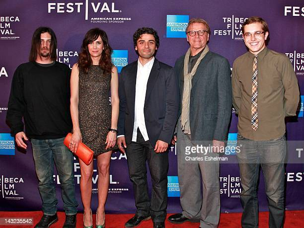Actors Brian Petsos Kristen Wiig Oscar Isaac David Rasche and director Chadd Harbold attend the Revenge For Jolly Premiere during the 2012 Tribeca...