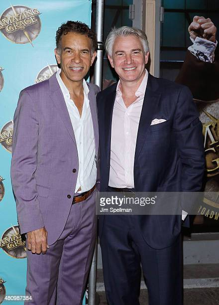 Actors Brian Stokes Mitchell and Douglas Sills attend the Amazing Grace broadway opening night at Nederlander Theatre on July 16 2015 in New York City