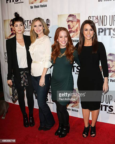 Actors Briana Cuoco Ashley Jones Amy Davidson and Lacey Chabert attend the Stand Up For Pits comedy benefit at The Improv on November 8 2015 in...
