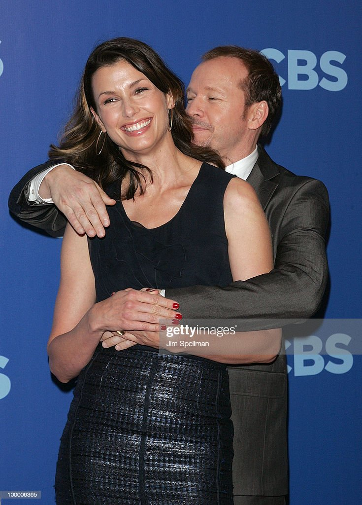 Actors Bridget Moynahan and Donnie Wahlberg attend the 2010 CBS Upfront at The Tent at Lincoln Center on May 19, 2010 in New York City.