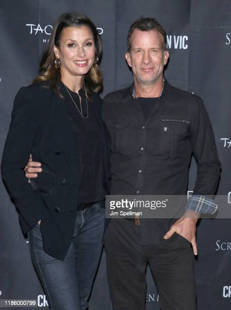 """Actors Bridget Moynahan and Thomas Jane attend the """"Crown Vic"""" New York screening at Village East Cinema on November 06, 2019 in New York City."""