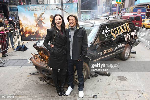Actors Bridget Regan and Craig Horner attend the 'Legend of The Seeker' sword of the truth unveiling at Military Island Times Square on November 5...