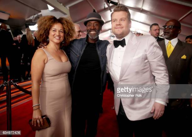 Actors Bridgid Coulter and Don Cheadle and host James Corden attend The 59th GRAMMY Awards at STAPLES Center on February 12 2017 in Los Angeles...