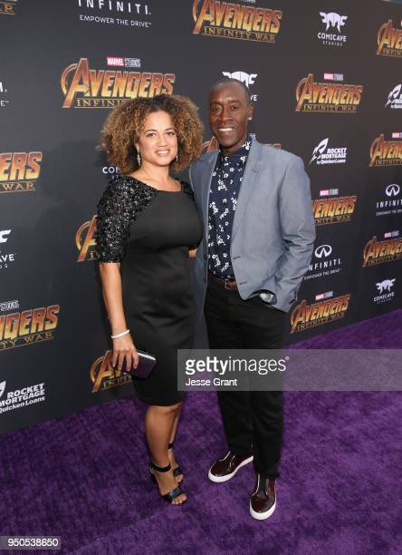 Actors Bridgid Coulter and Don Cheadle attend the Los Angeles Global Premiere for Marvel Studios' Avengers Infinity War on April 23 2018 in Hollywood...