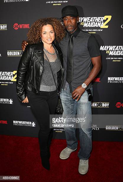 Actors Bridgid Coulter and Don Cheadle Jr arrive at Showtime's VIP prefight party for Mahem Mayweather vs Maidana 2 at the MGM Grand Garden Arena on...
