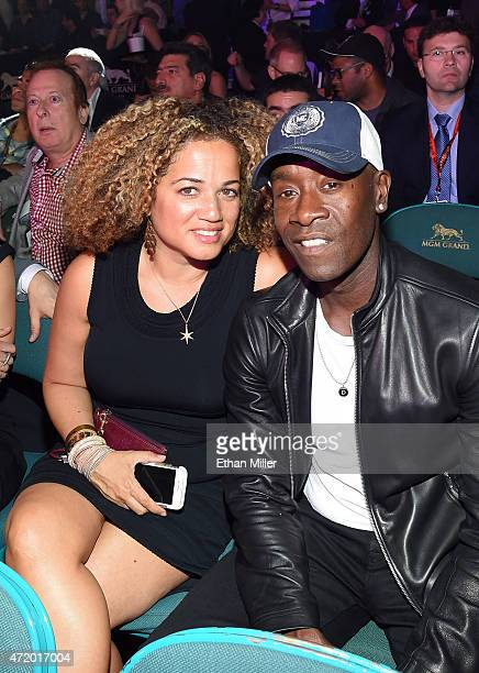 Actors Bridgid Coulter and Don Cheadle pose ringside at Mayweather VS Pacquiao presented by SHOWTIME PPV And HBO PPV at MGM Grand Garden Arena on May...