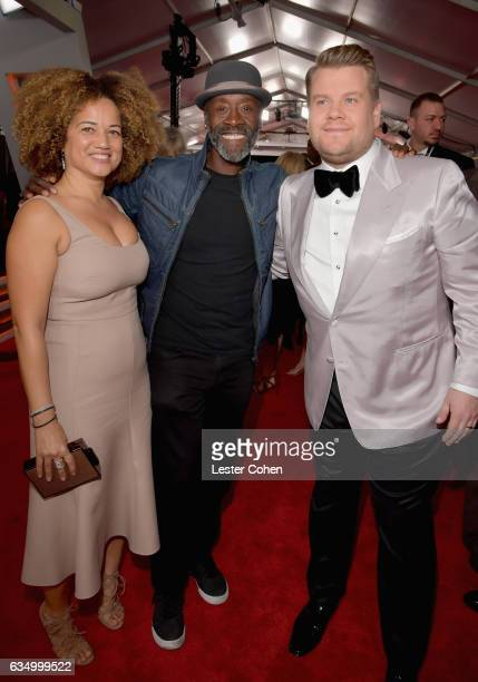 Actors Bridgid Coulter Don Cheadle and host James Corden attend The 59th GRAMMY Awards at STAPLES Center on February 12 2017 in Los Angeles California